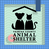 The outline of a dog and cat sit together over 'Fairfax County Animal Shelter'