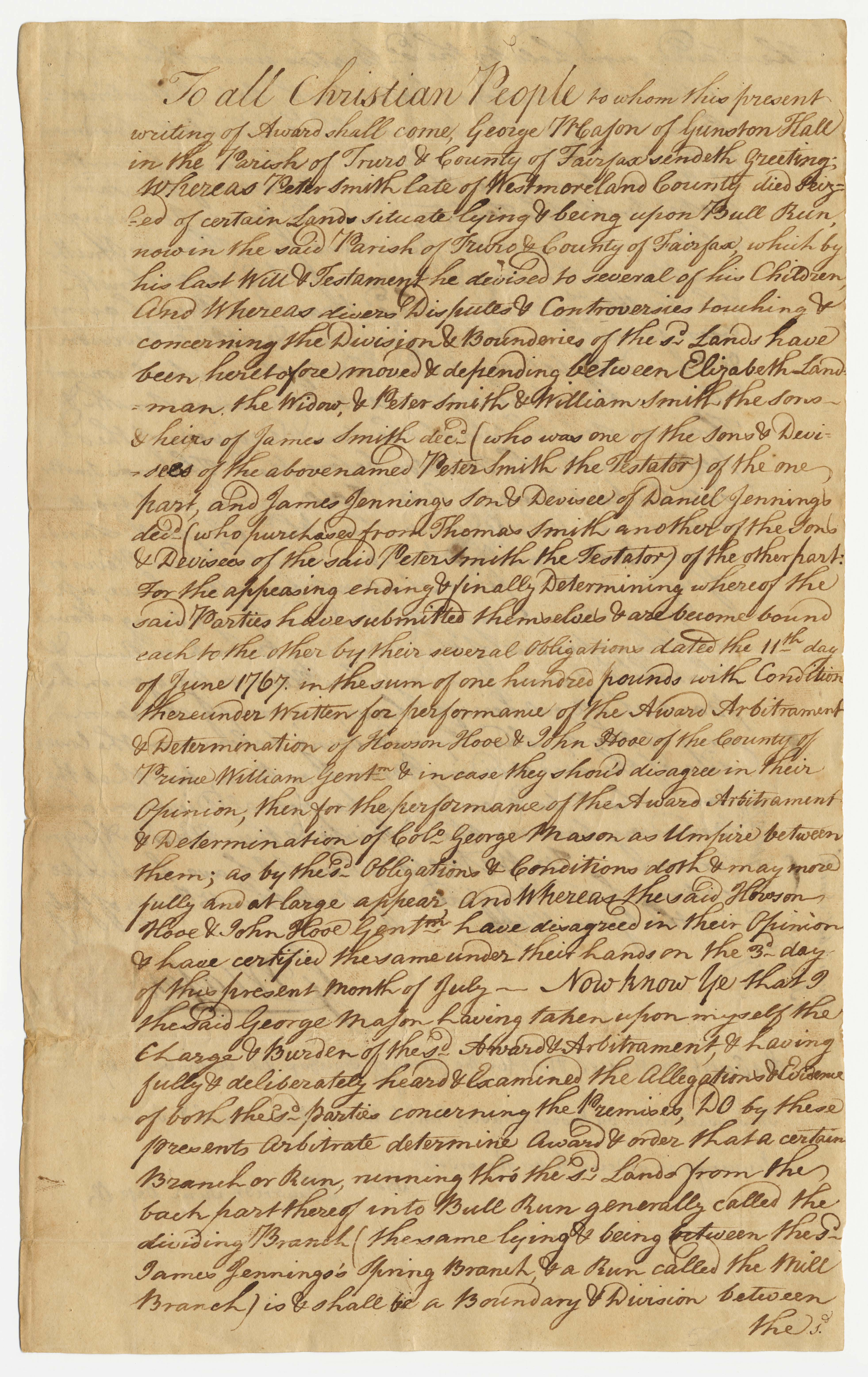 George Mason order, page 1.