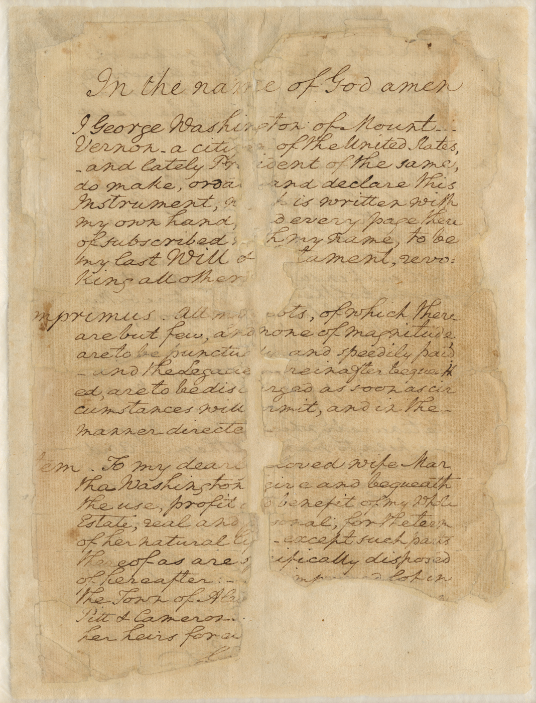 Page from George Washington's will
