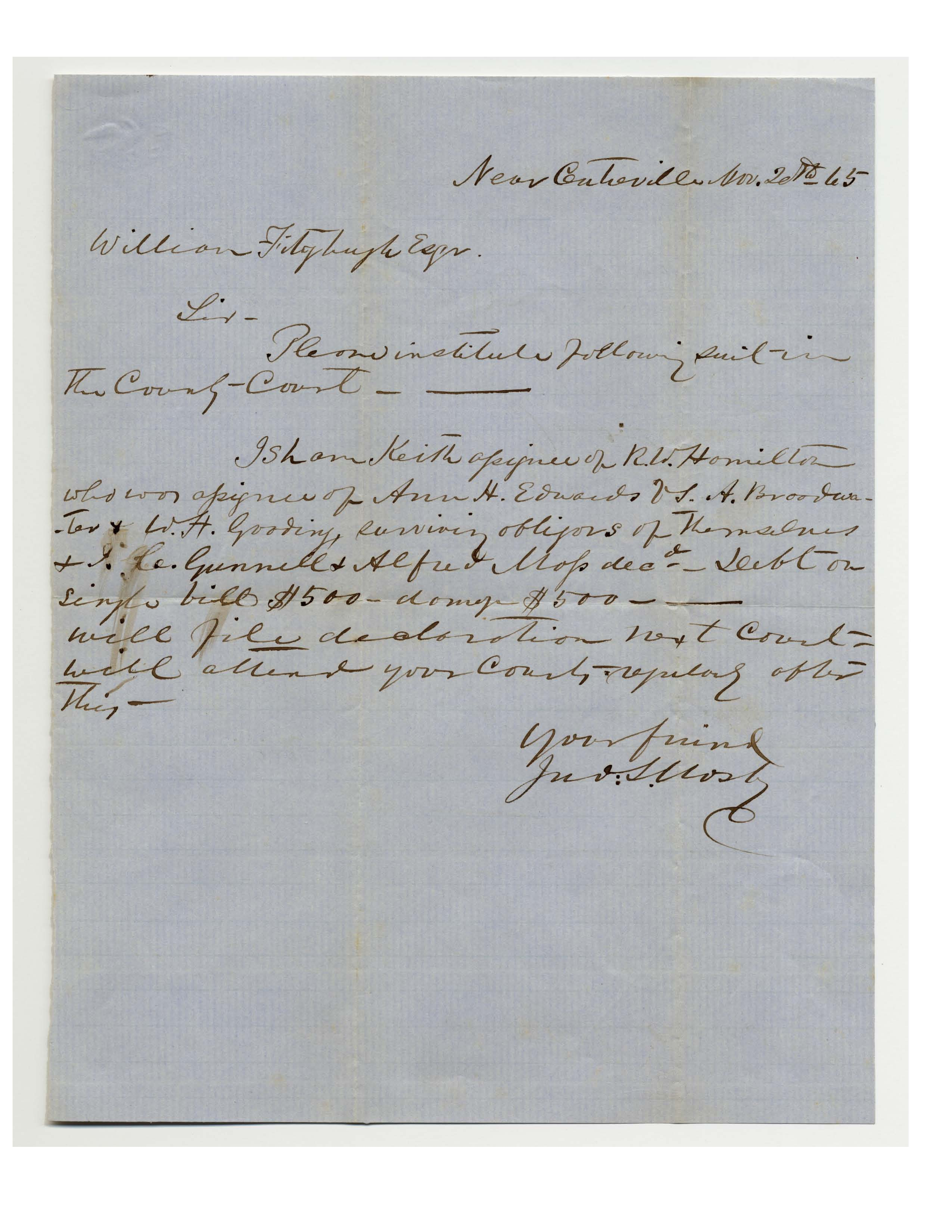 Letter from John Mosby