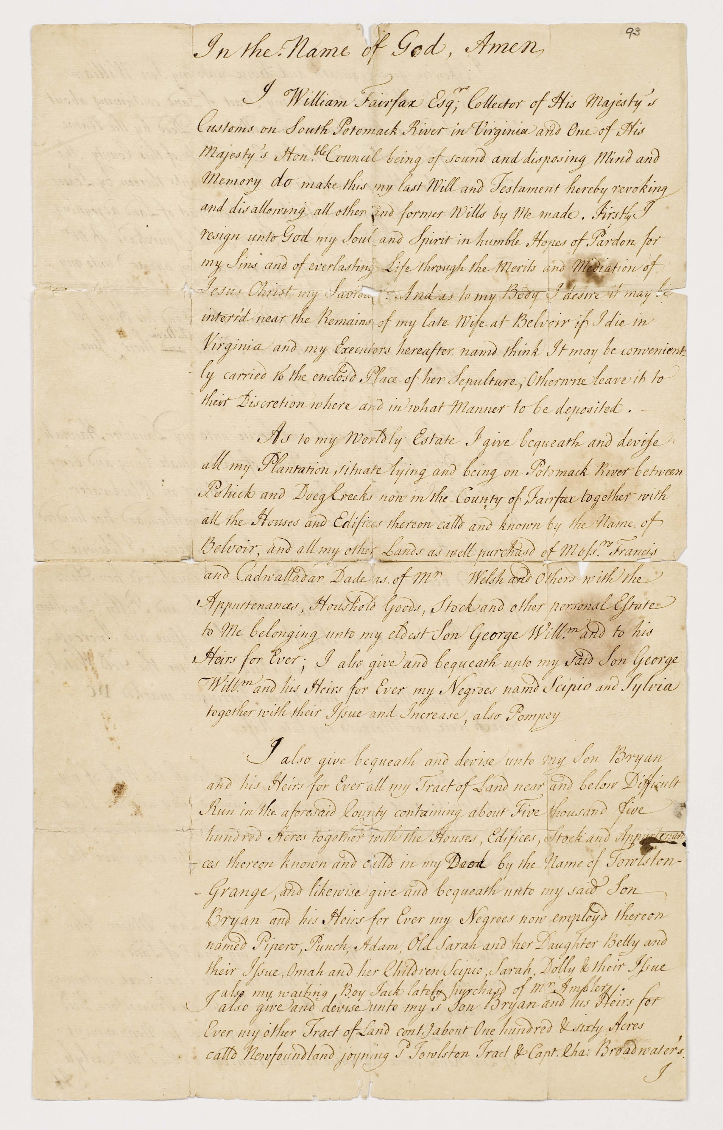 Will of William Fairfax