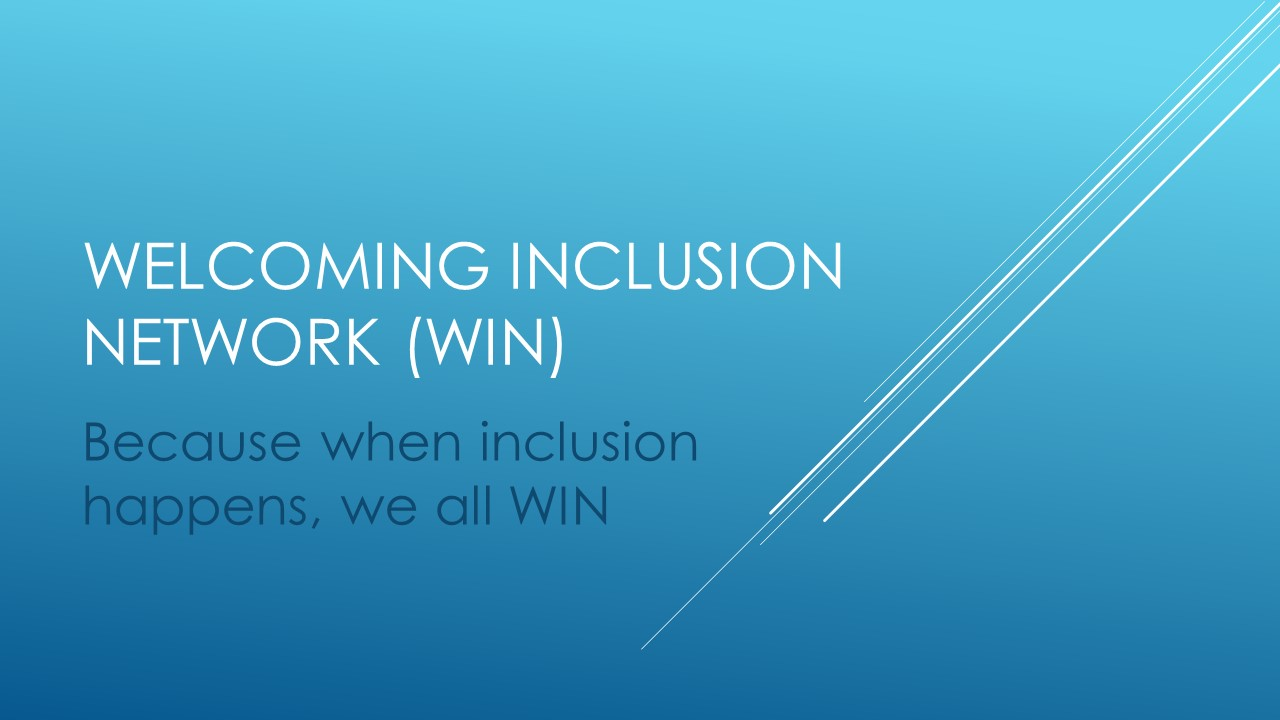Blue background - Welcoming inclusion Network (WIN)