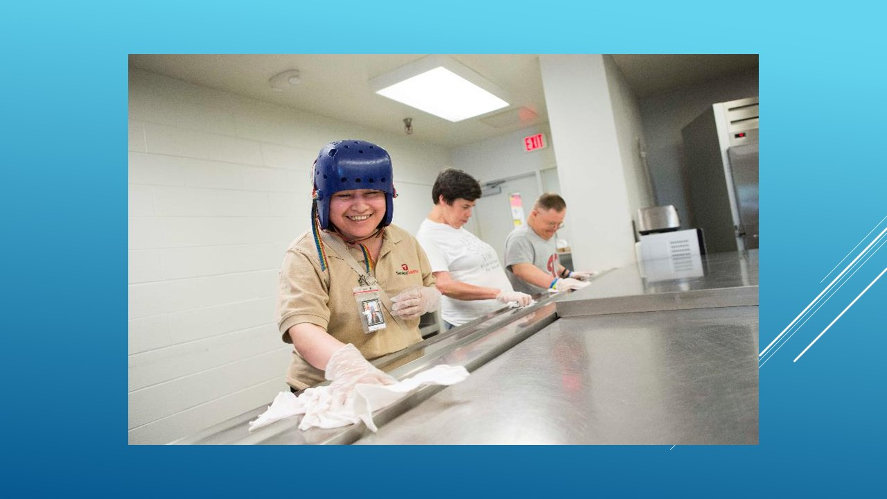 Photo of workers with developmental disabilities cleaning in a kitchen