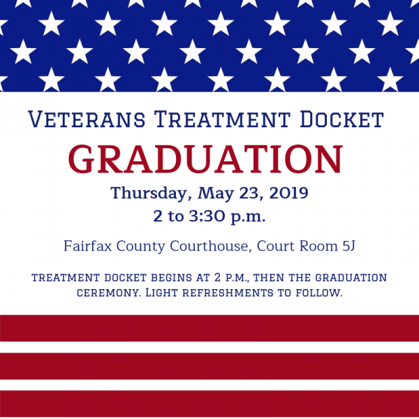 Graphic with stars and stripes and date for Veterans Treatment Docket graduation