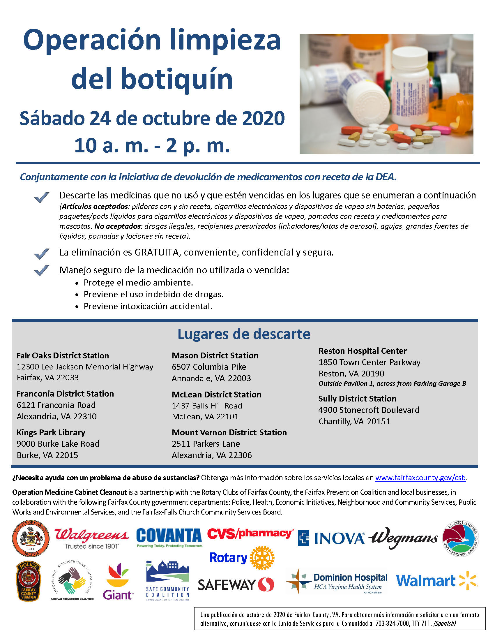 Operation Medicine Cabinet Cleanout flyer - Spanish
