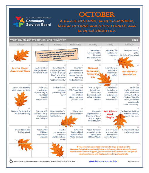 October wellness activities calendar