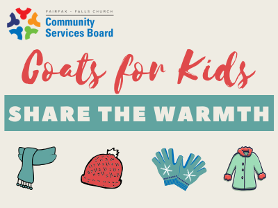 Graphic about Coats for Kids initiative with coat, hat, gloves and scarf.