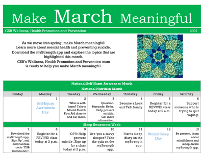 Image of calendar with heading Make March Meaningful