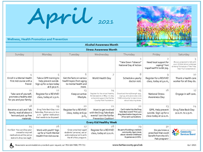 April calendar with colorful illustration of trees