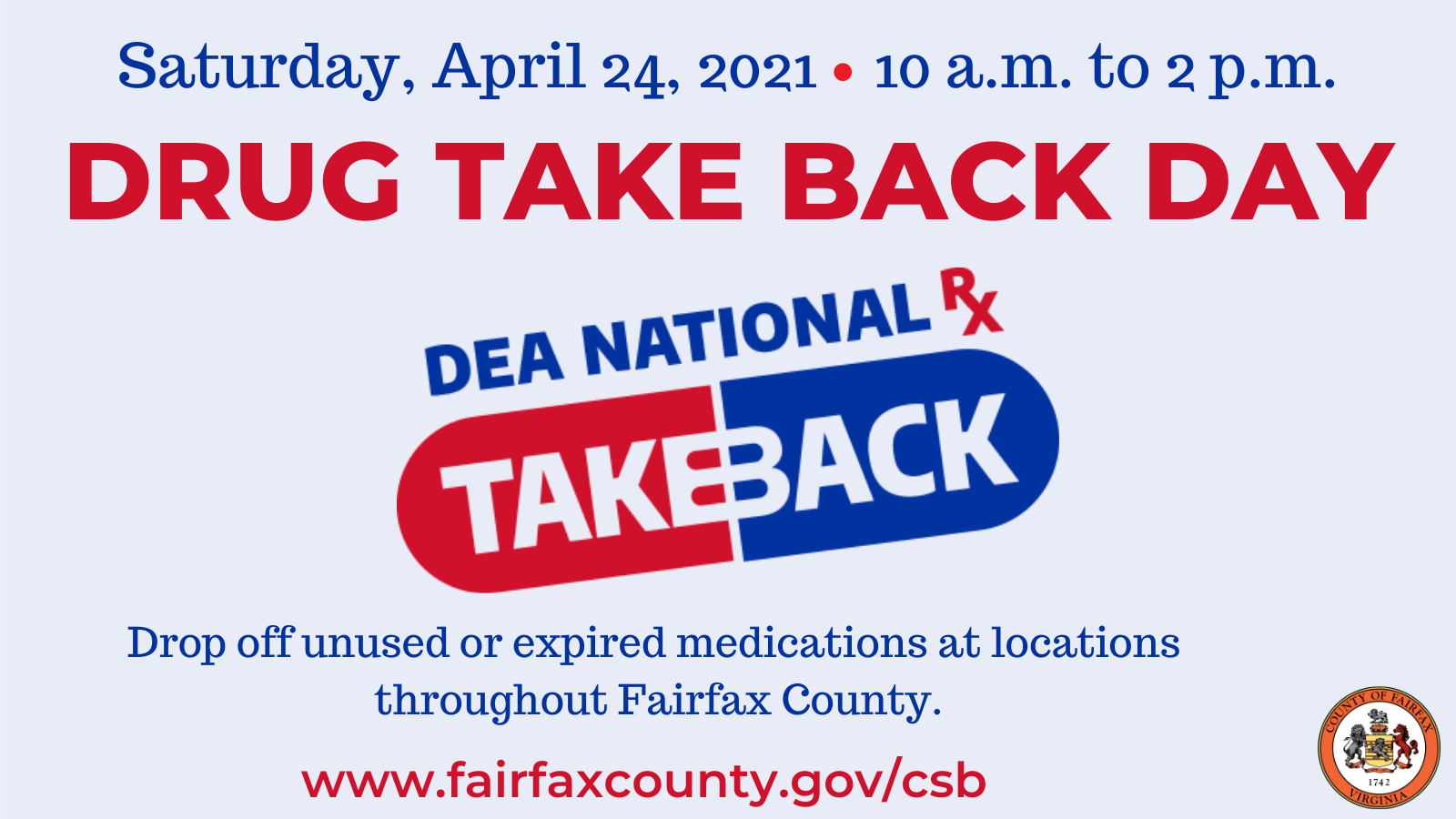 Drug Takeback Day graphic for Twitter