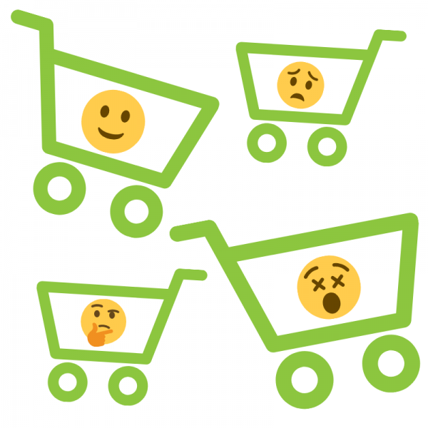 Shopping carts with emoji faces
