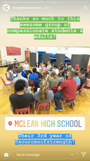 Social media post from McLean High School with photo of participants in Sources of Strength