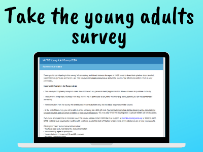 Image of laptop computer with a survey displayed, text says take the young adults survey