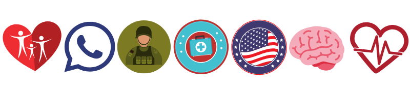 Icons for family, phone, military, US flag, brain, first aid, heart