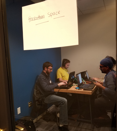 Hackers at work during our transportation hackathon.