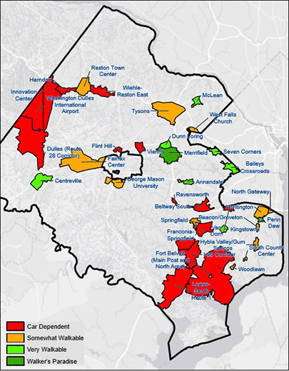Walk score map of activity centers in Fairfax County.