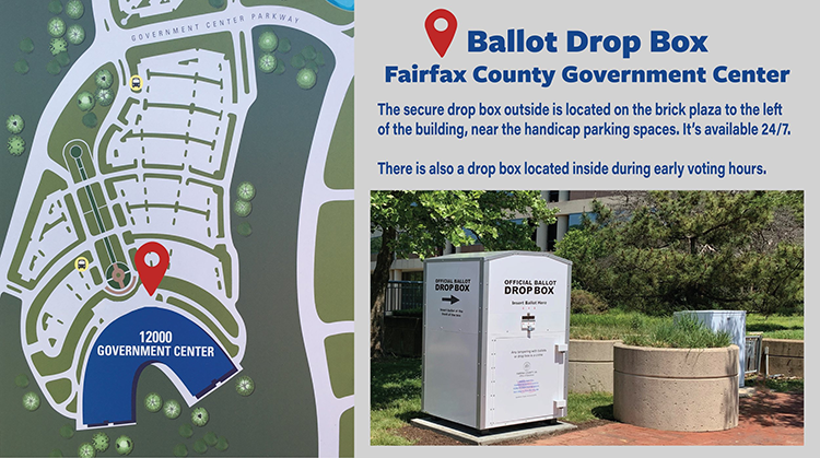 Fairfax County Government Center Drop Box for Vote by Mail Ballots