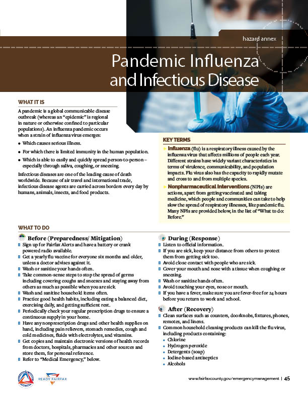 Pandemic Influenza and Infectious Disease PDF Thumbnail