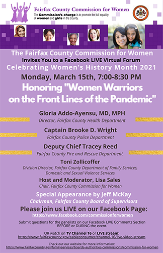 Commission for Women Celebrate Women's History Month 2021 event flyer graphic
