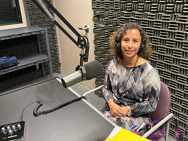 County Conversatio podcast studio and Natalie Sposato