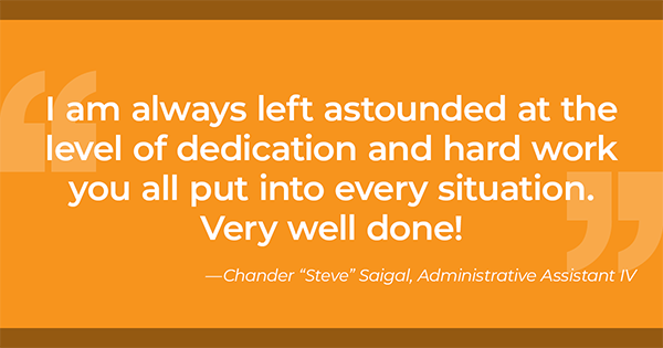 "Thank You from Chander ""Steve"" Saigal"