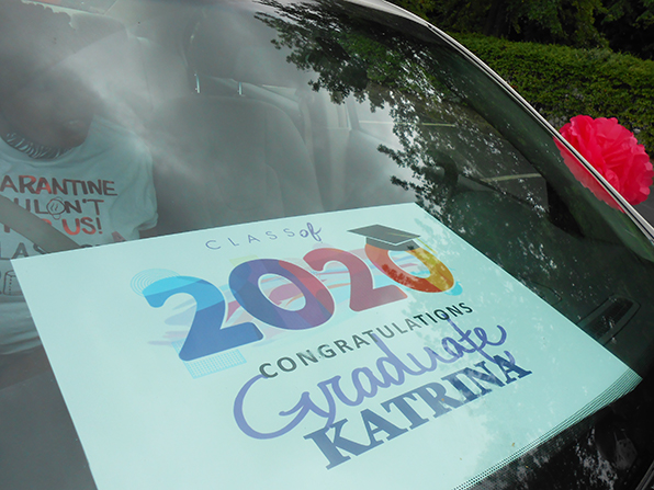 vehicle with sign 2020 graduate Katrina