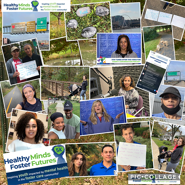 Healthy Minds Foster Futures 5K Virtual walk photo collage 2020