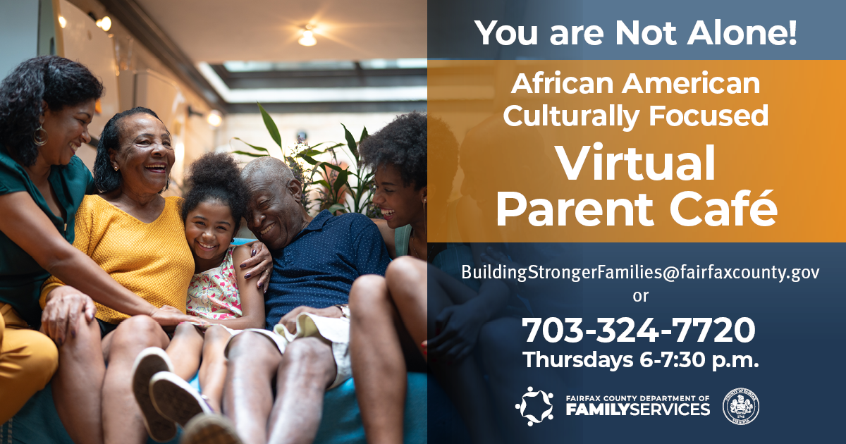 You Are Not Alone African Amercian Virtual Parent Cafes English graphic