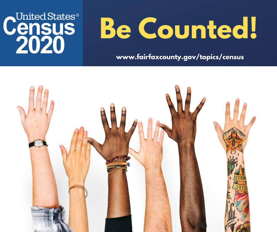 2020 Census Be Counted graphic with hands