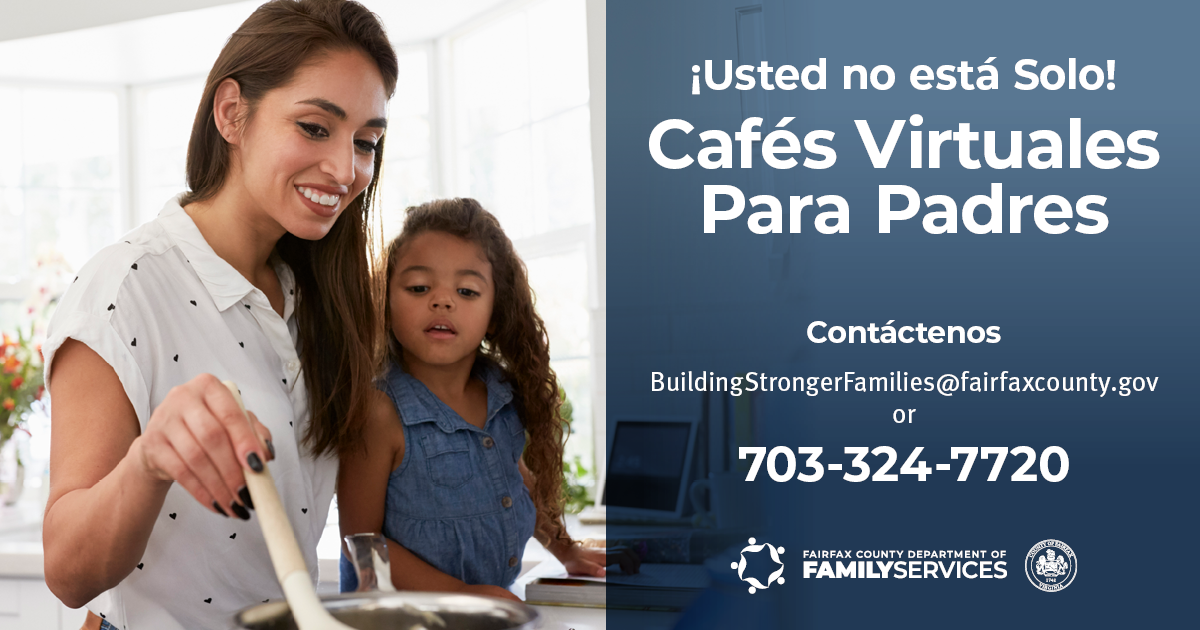 You Are Not Alone Virtual Parent Cafes graphic Spanish