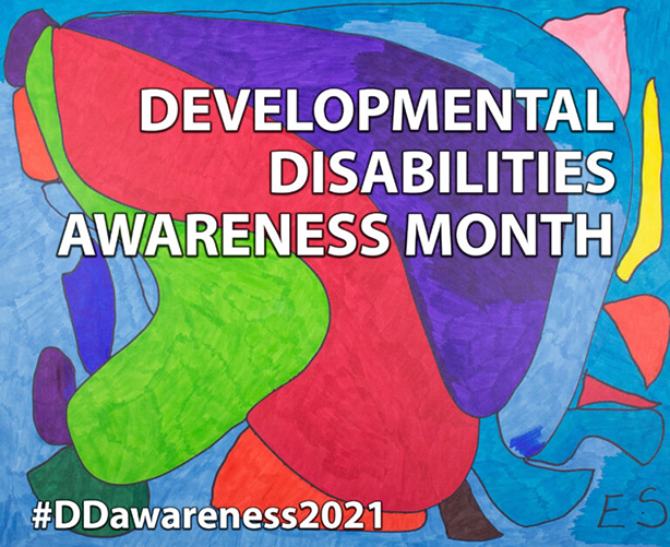 colorful graphic with text Developmental Disability Awareness Month