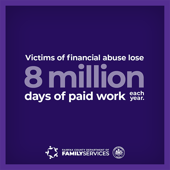 domestic violence finances infographic - Victims of financial abuse lose 8 million days of paid work each year.