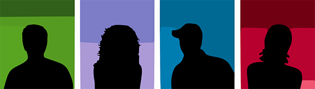 silhouette of people in color blocks