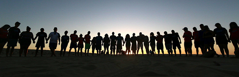 silhouette of young people