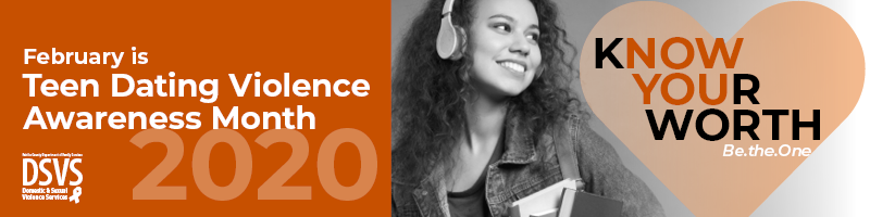 February is Teen Dating Violence Awareness Month graphic banner