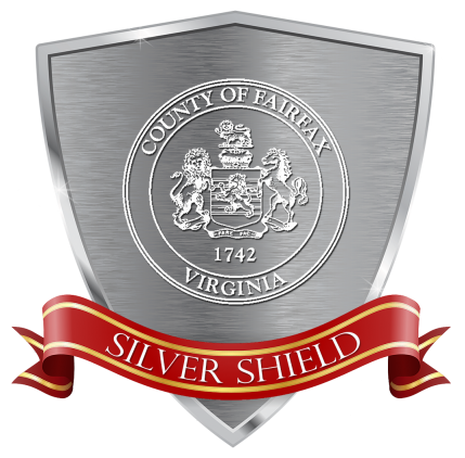 Fairfax County Silver Shield red ribbon graphic logo