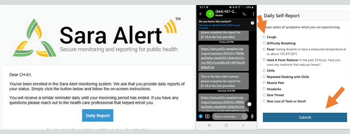 Sara Alert  images of enrollment confirmation, text messages, and email alerts