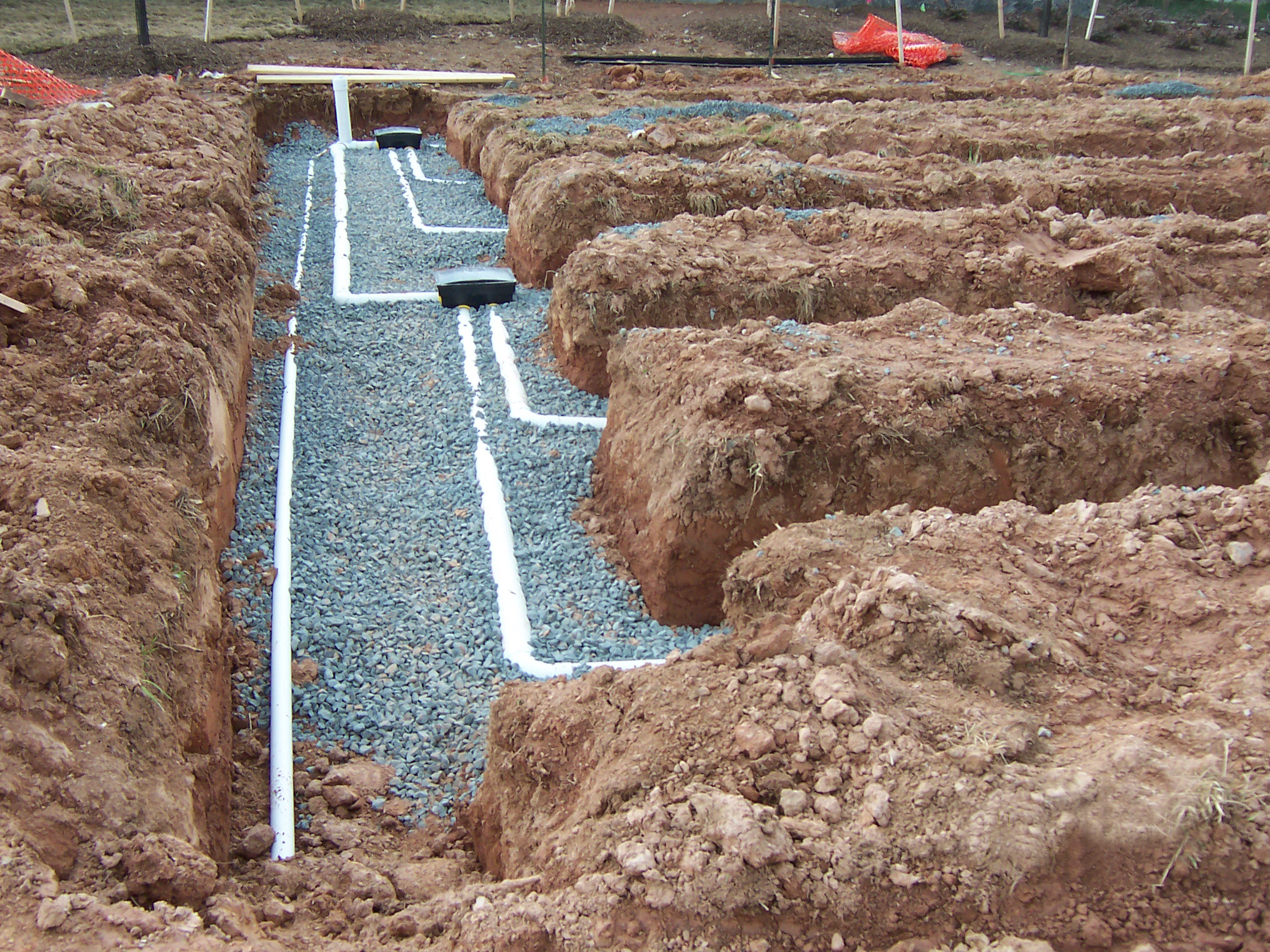 Onsite sewage system under construction