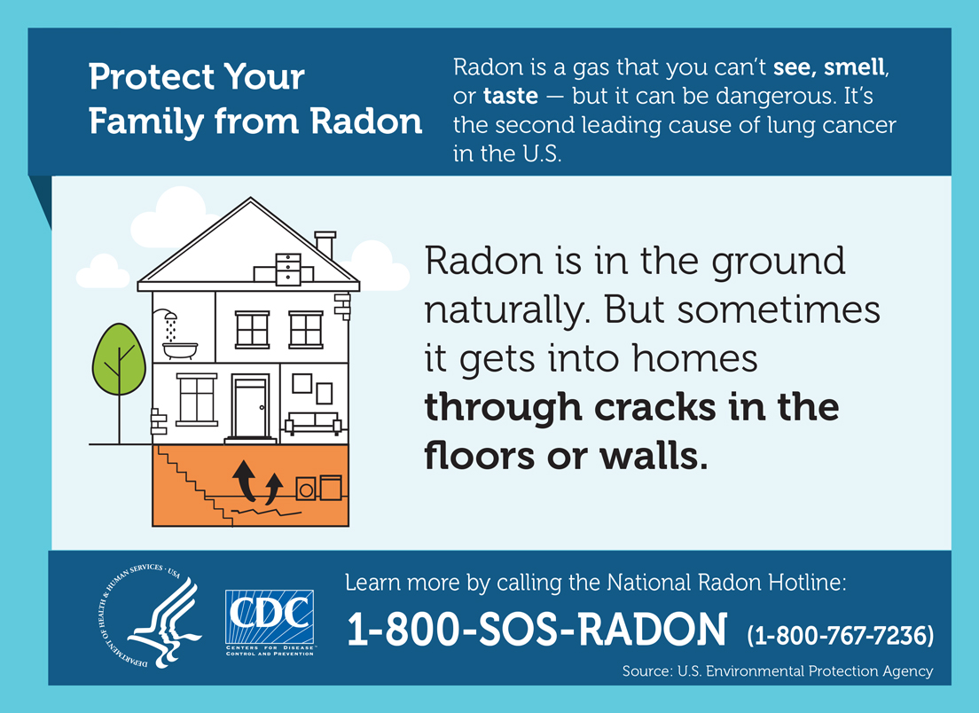 Protect Your Family from Radon. Radon is a gas that you can't see, smell, or taste – but it can be dangerous. It's the second leading cause of lung cancer. Radon is in the ground naturally. But sometimes it gets into homes through cracks in the floors or walls. Learn more by calling the National Radon Hotline: 1-800-SOS-RADON. (1-800-767-7236).