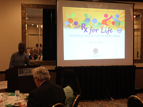 Health Department Director of Health Dr. Gloria Addo-Ayensu addresses Rx for Life conference attendees