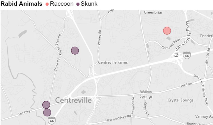 Rabid animals street locator map showing location of four reported incidents