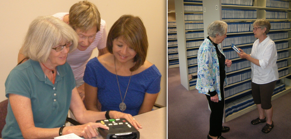Sandy shows Janet and Ann how to operate the free digital audio player. Nancy hands Gloria a digital audiobook from the shelves at Access Services Library.