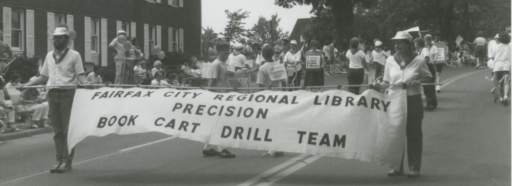 Library cart drill team July 4, 1987