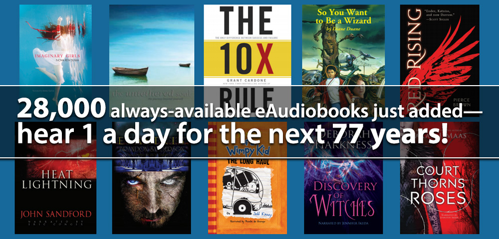 More than 28,000 Always-Available, No-Waiting eAudiobooks