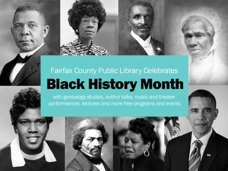 Black History Month header graphic featuring influential African Americans