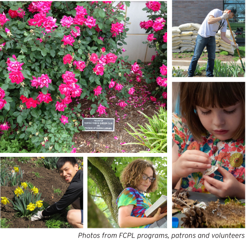 photo collage of spring flowers, gardening, reading, outdoors activities