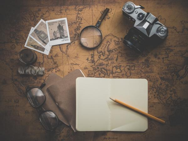 old map, camera, journal