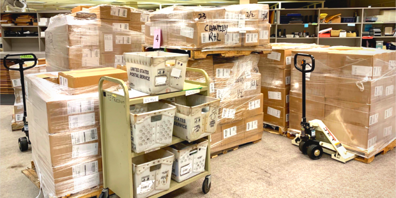 Shipping pallets and boxes in the library's Technical Operations Center