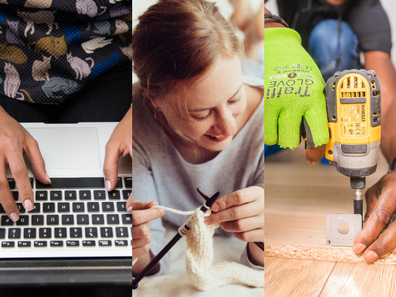 three photos show hands typing on a laptop, woman knitting, hands using a power tool on wood