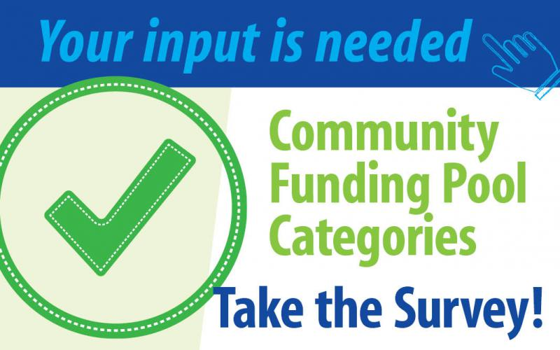 A graphic that says Your input is needed.  Take the Community Funding Pool Categories Survey!